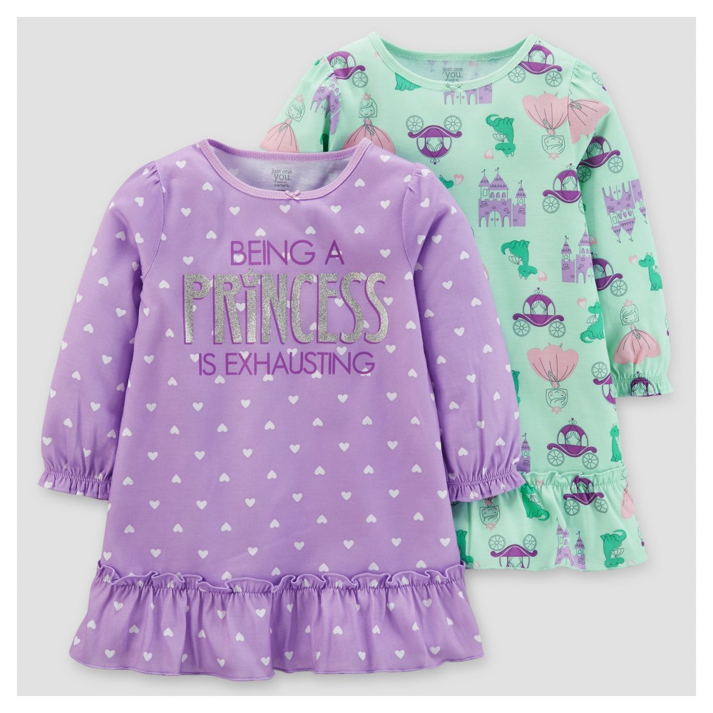 Toddler Girls 2pk Princess Polka Dots One Piece Poly Gown - Just One You Made by Carters Lavender Blush 12M, Size: 12 M