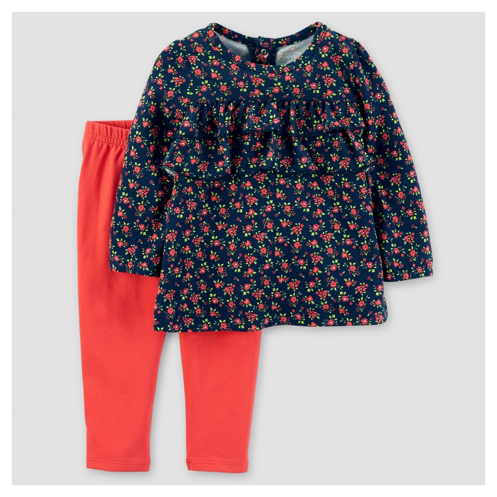Baby Girls 2pc Cotton/Jersey Floral Ruffle Top Set - Just One You Made by Carters Navy/Red 18M, Size: 18 M