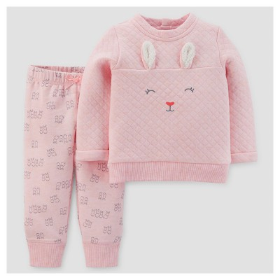 Baby Girls' 2pc Bunny Pullover and Pants Set - Just One You™ Made by Carter's® Pink 9M