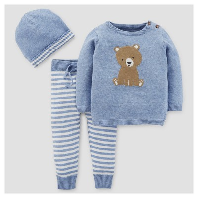 Baby Boys' 3pc Bear Stripe Sweater Set - Just One You™ Made by Carter's® Blue 9M
