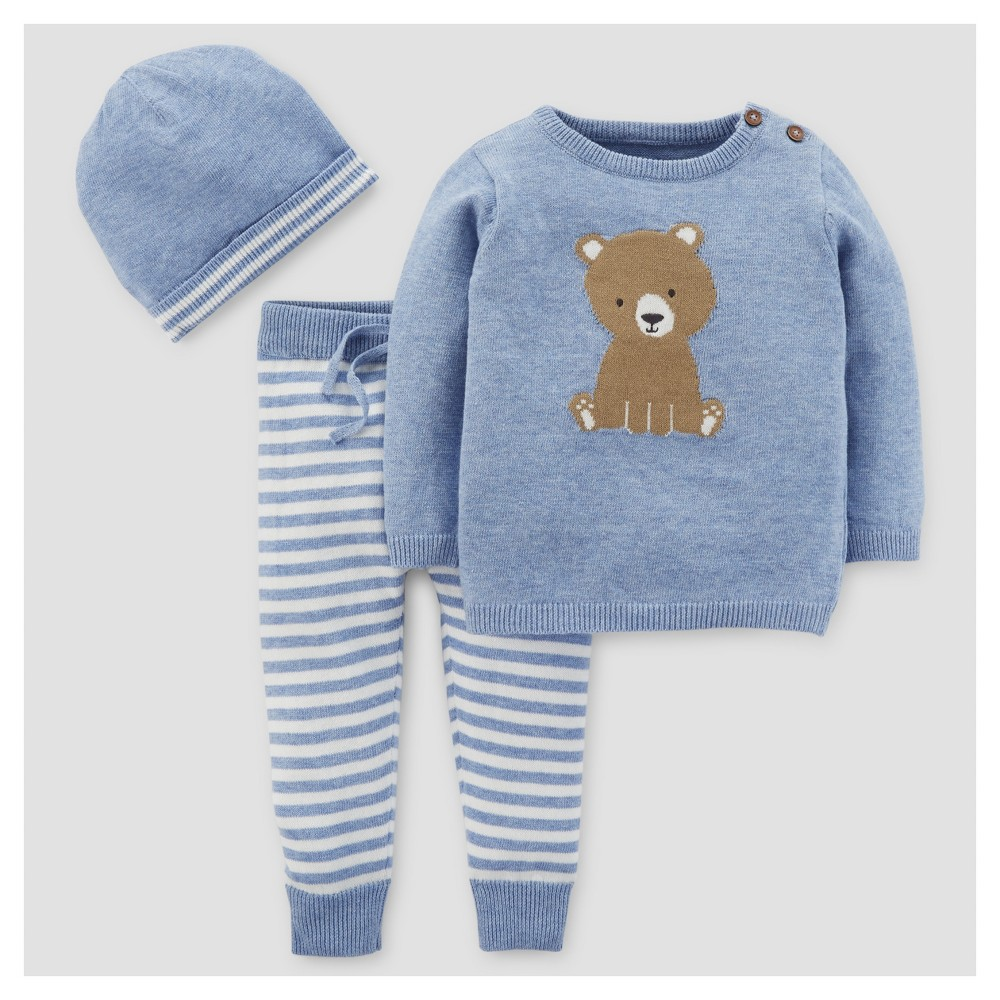 Baby Boys 3pc Bear Stripe Sweater Set - Just One You Made by Carters Blue NB