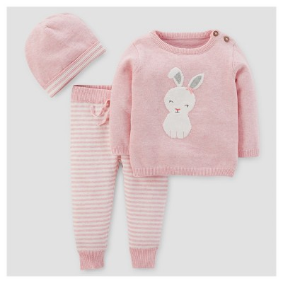 Baby Girls' 3pc Bunny Stripe Sweater Set - Just One You™ Made by Carter's® Pink NB