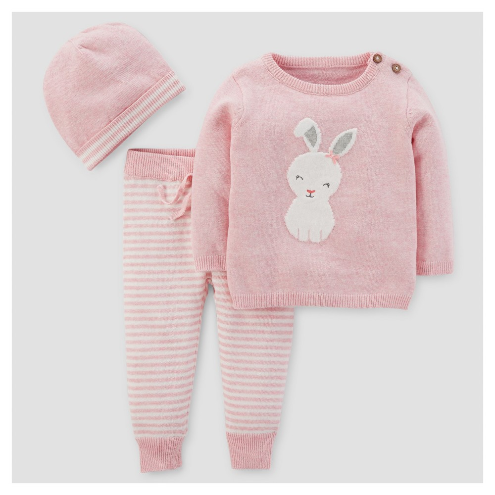 Baby Girls 3pc Bunny Stripe Sweater Set - Just One You Made by Carters Pink NB