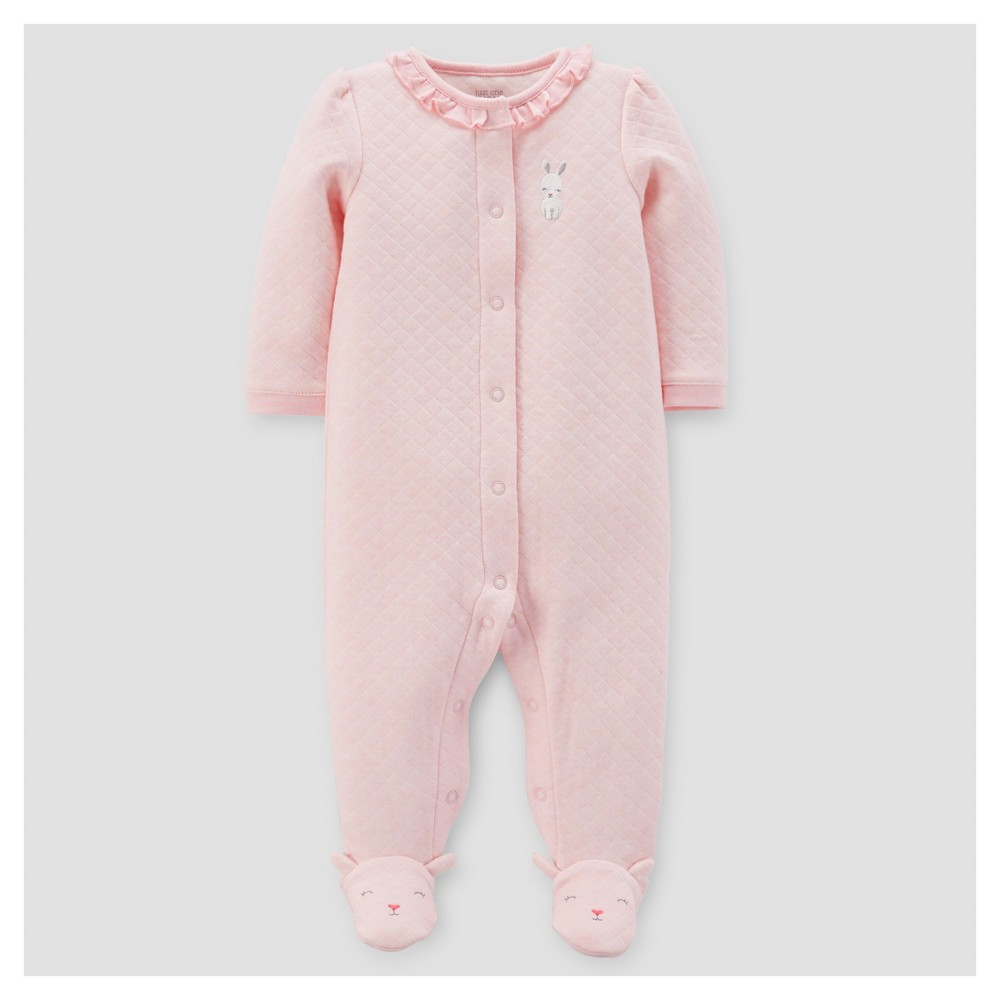 Baby Girls Bunny Ruffle Sleep N Play - Just One You Made by Carters Pink NB
