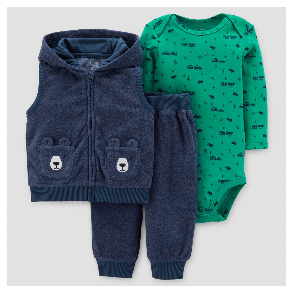 Baby Boys 3pc Fleece Hooded Vest Set - Just One You Made by Carters Heather Blue/Green 12M, Size: 12 M