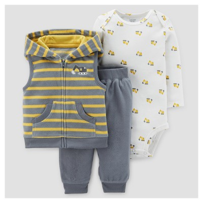 Baby Boys' 3pc Construction Fleece Hooded Vest Set - Just One You™ Made by Carter's Gray Stripe/Yellow 18M