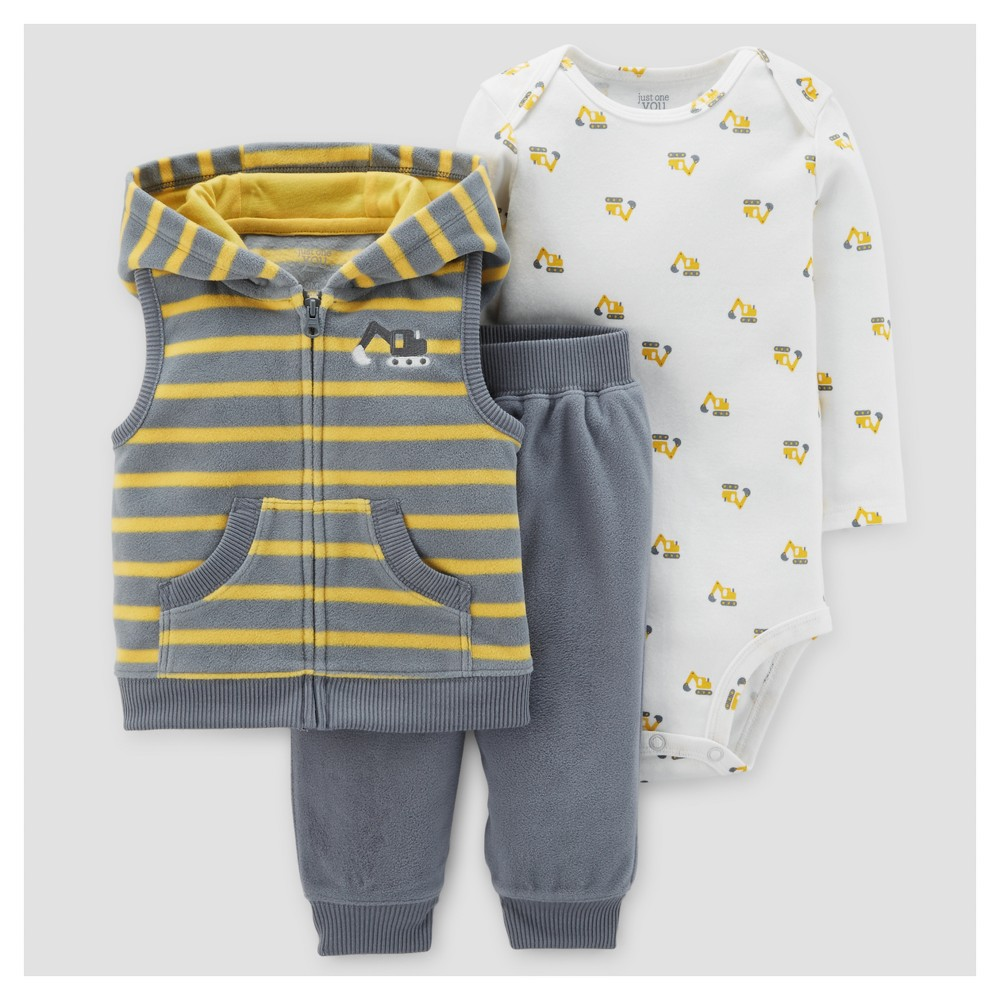 Baby Boys 3pc Construction Fleece Hooded Vest Set - Just One You Made by Carters Gray Stripe/Yellow 18M, Size: 18 M