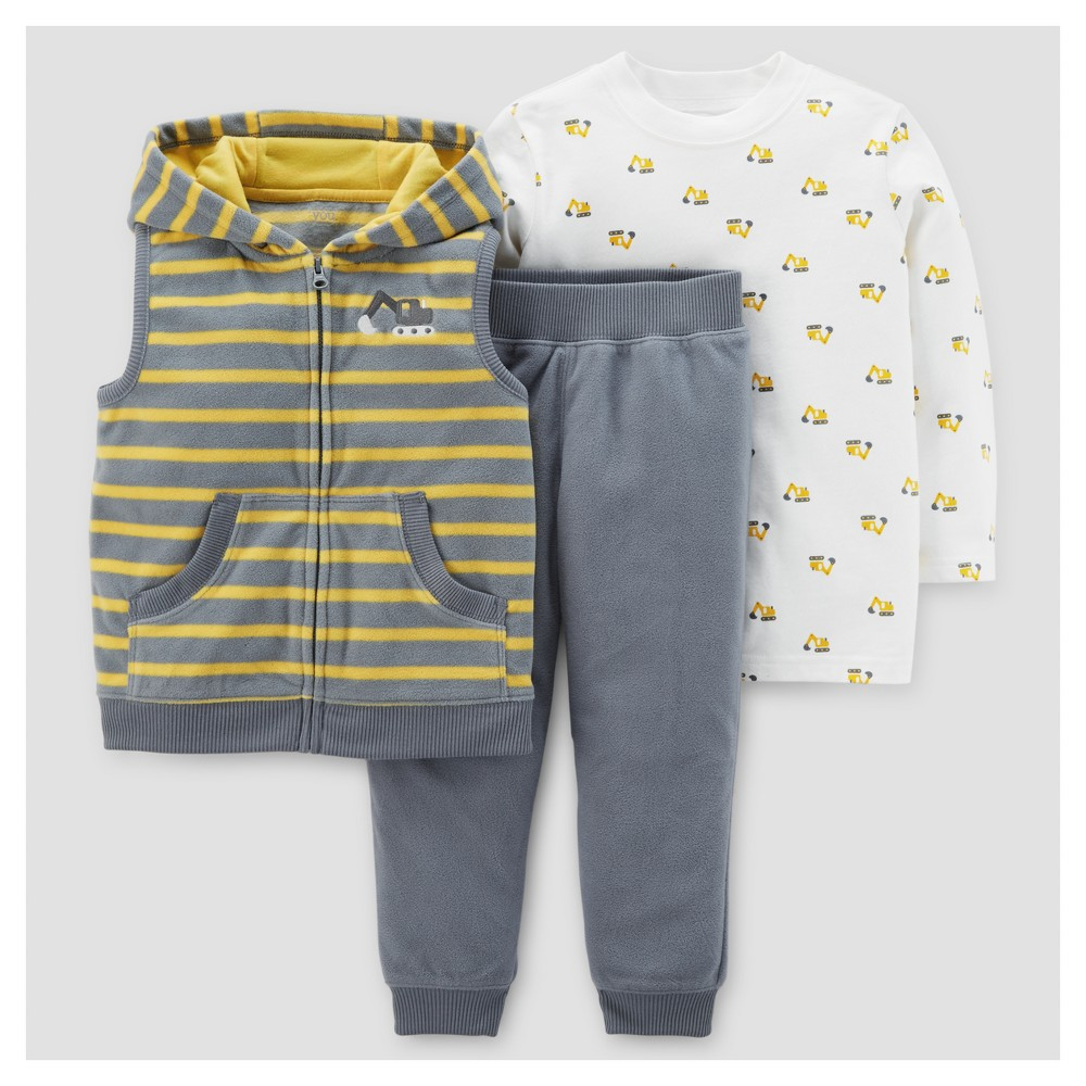Toddler Boys 3pc Construction Fleece Hooded Vest Set - Just One You Made by Carters Gray Stripe/Yellow 4T