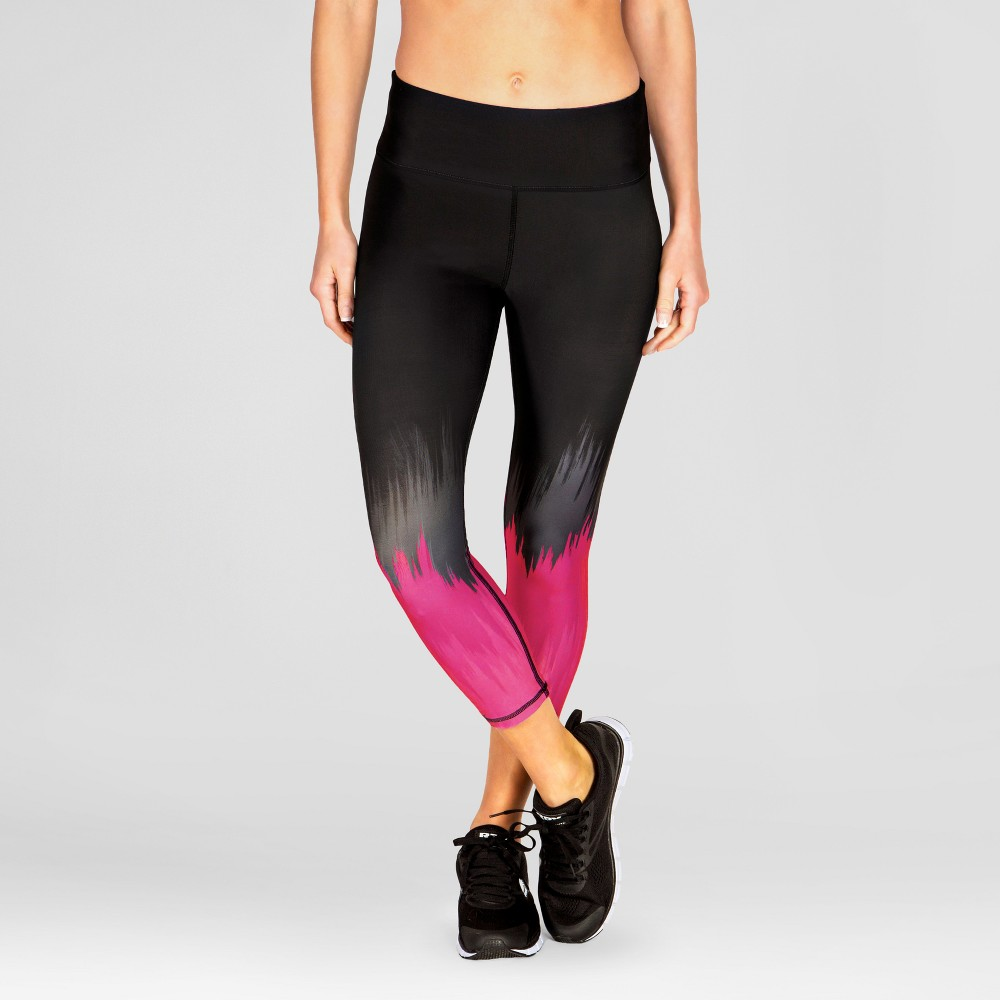 Women's Yoga Capri Leggings with Color Theory Engineered Print - Pink M - Rbx