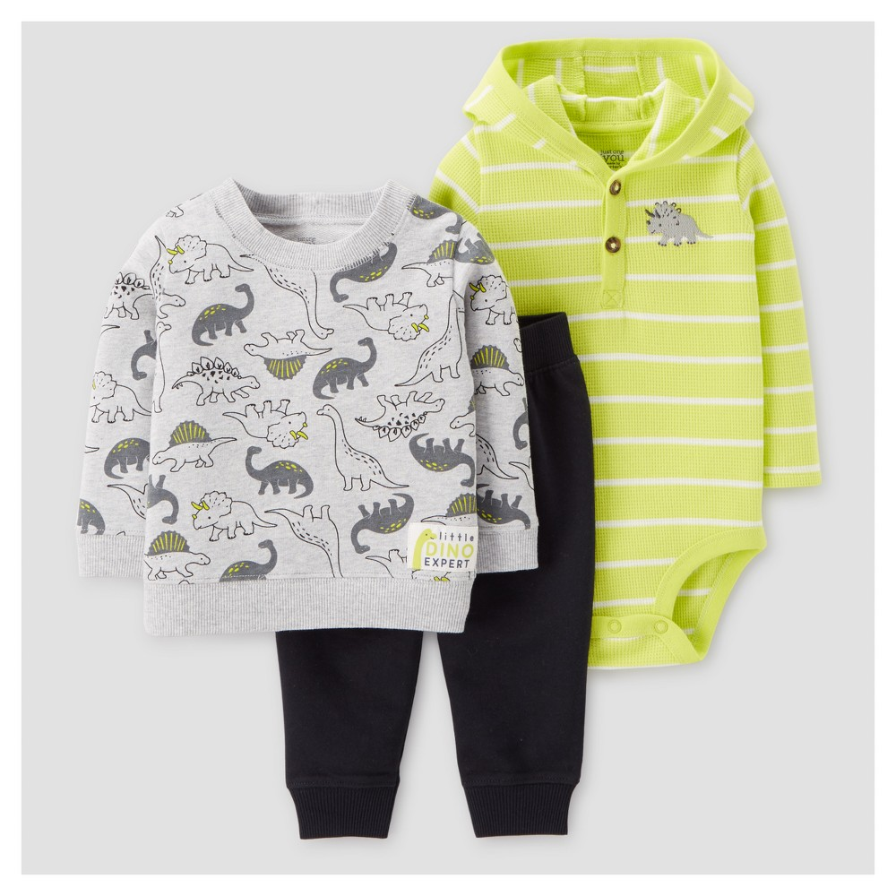 Baby Boys 3pc Dino Pullover Hooded Henley Set - Just One You Made by Carters Lime 9M, Size: 9 M, Green
