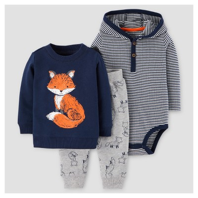 Baby Boys' 3pc Fox Cotton Pullover Hooded Henley Set - Just One You™ Made by Carter's® Navy 9M