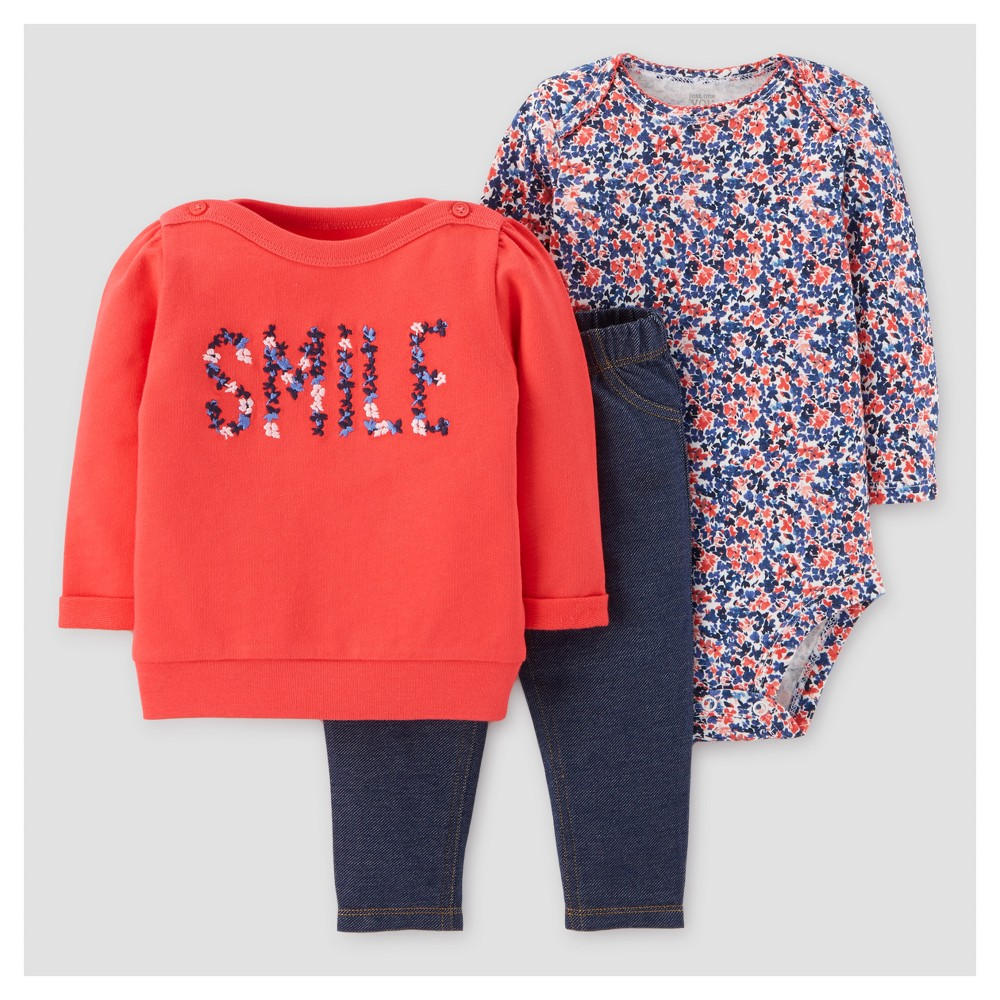 Baby Girls 3pc Floral Smile Cotton Pullover Set - Just One You Made by Carters Red 9M, Size: 9 M