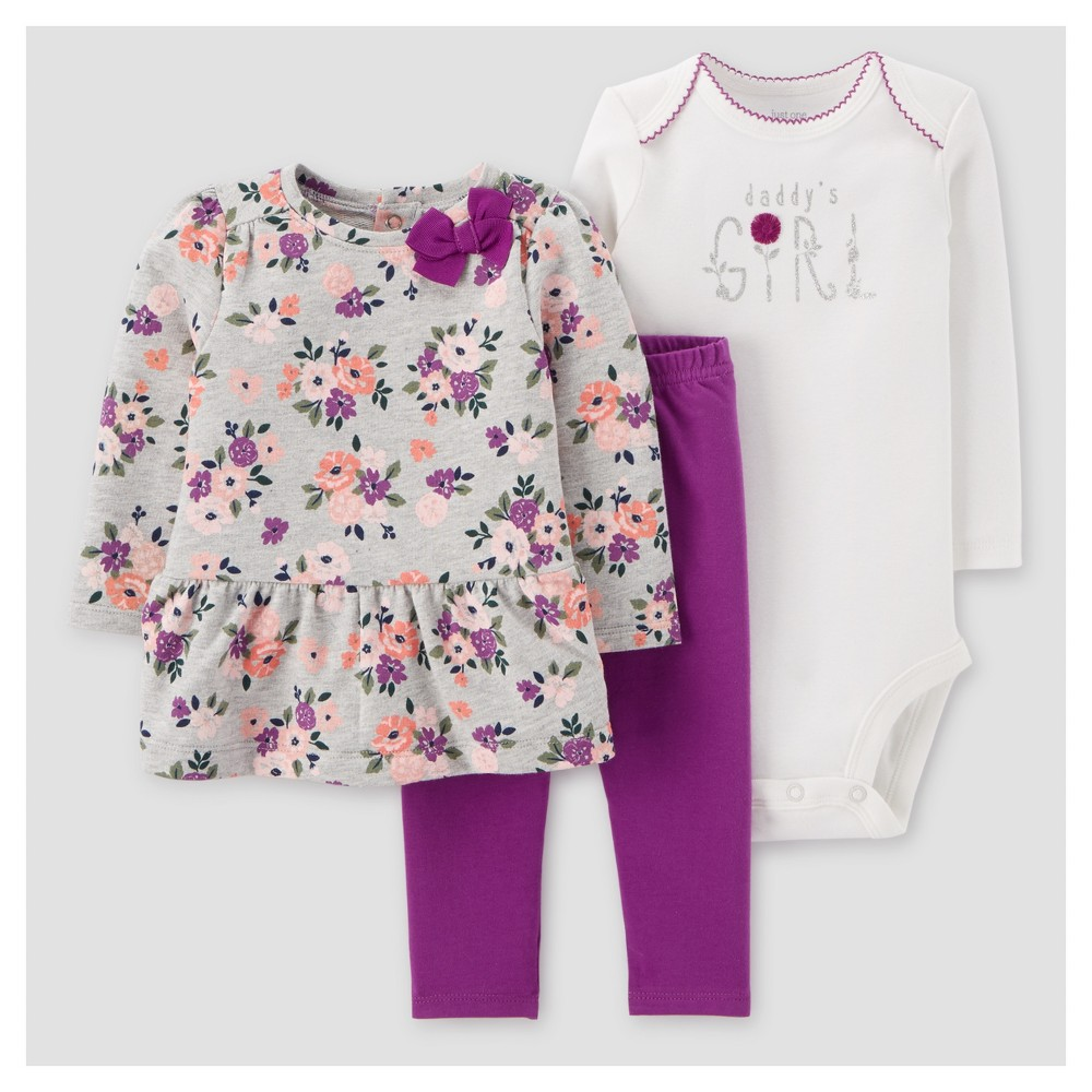 Baby Girls 3pc Floral Cotton Pullover Set - Just One You Made by Carters Gray/Purple NB