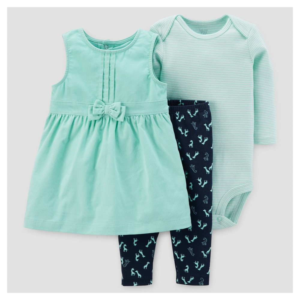Baby Girls 3pc Giraffes Cord Jumper Set - Just One You Made by Carters Mint/Navy NB, Green