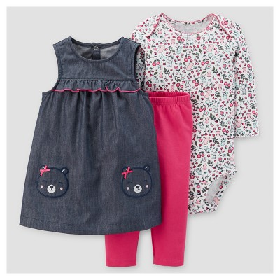 Baby Girls' 3pc Bear Pocket Jumper Set - Just One You™ Made by Carter's® Chambray 9M