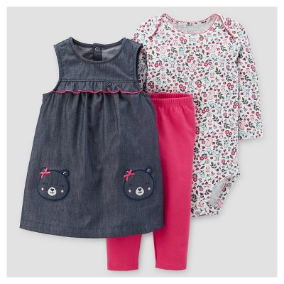 Baby Girls' 3pc Bear Pocket Jumper Set - Just One You™ Made by Carter's® Chambray NB