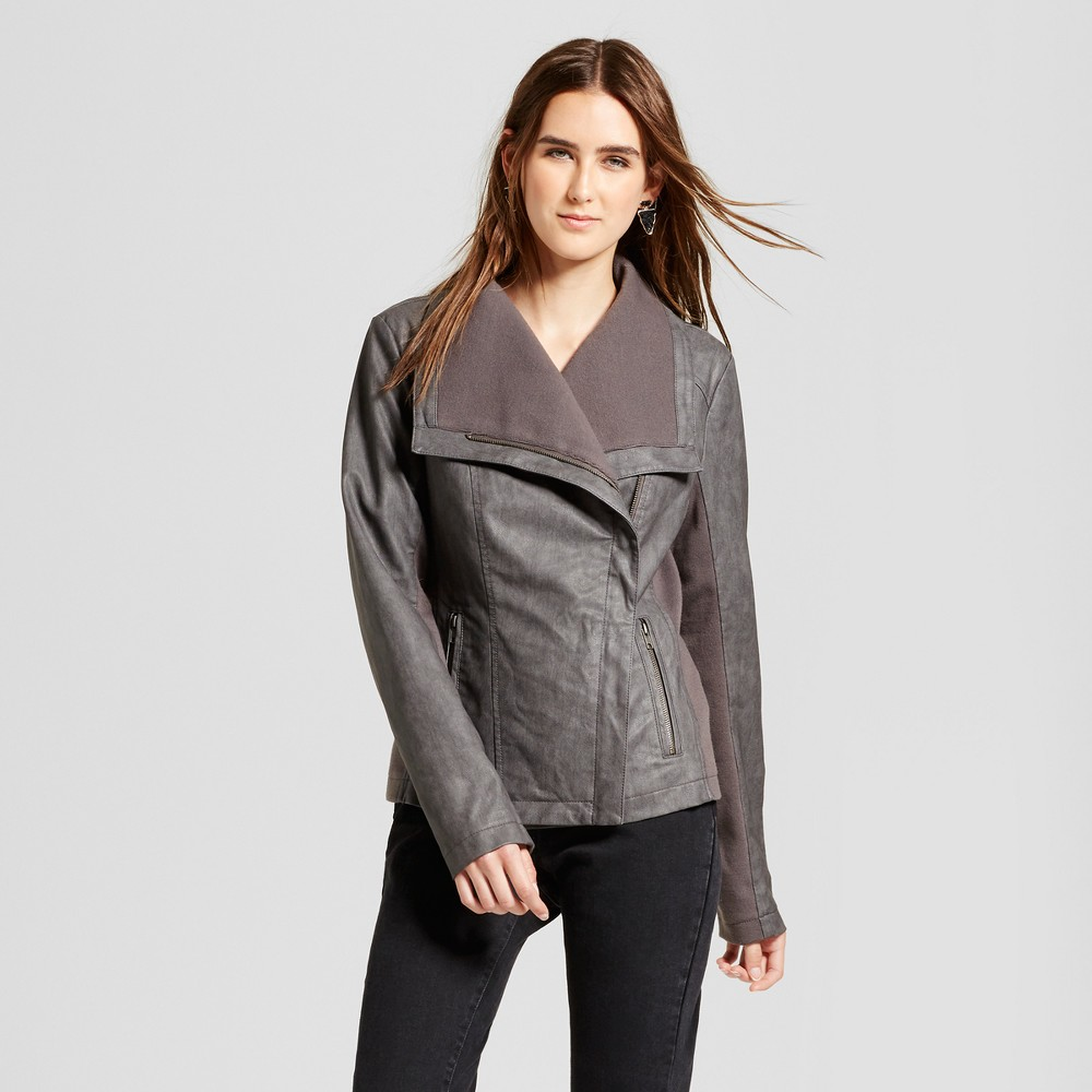 Womens Rib Knit Faux Leather Jacket - Mossimo Gray L