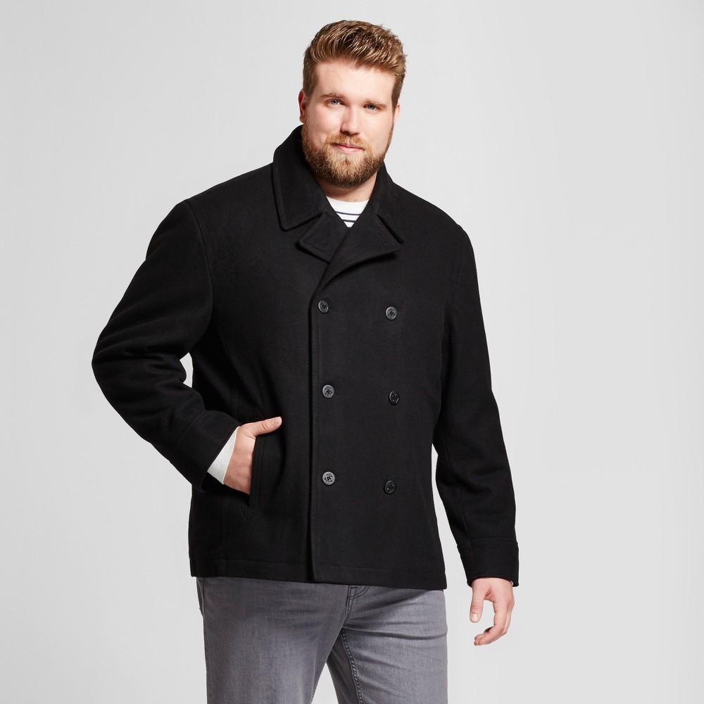 Mens Big & Tall Standard Fit Wool Pea Coat - Goodfellow & Co Black MT