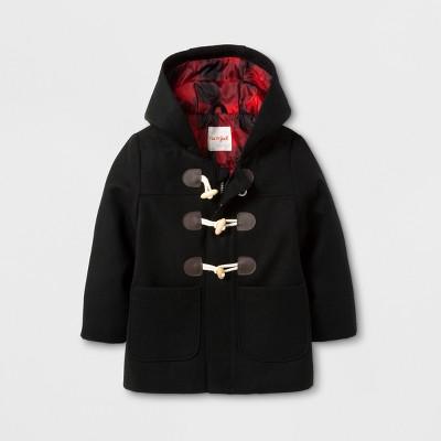 Toddler Boys' Faux Wool Overcoat Jacket - Cat & Jack™ Black 18M