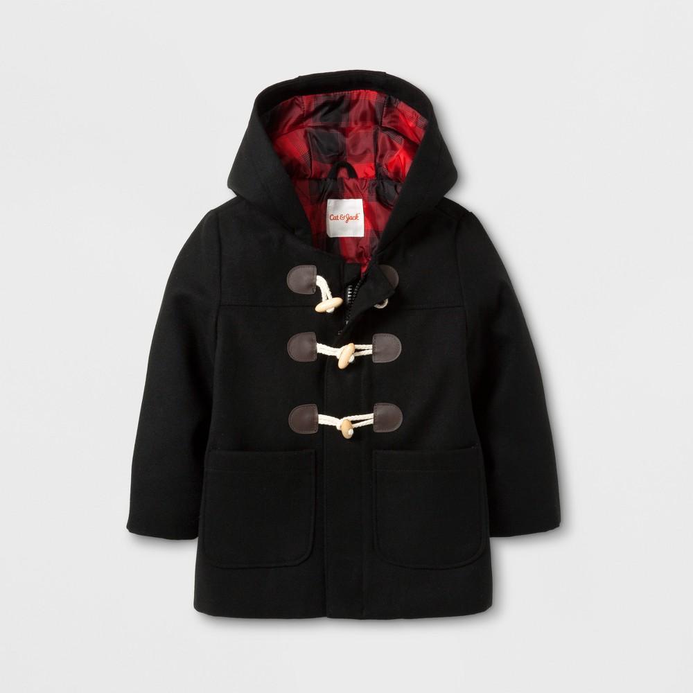 Toddler Boys Faux Wool Overcoat Jacket - Cat & Jack Black 7