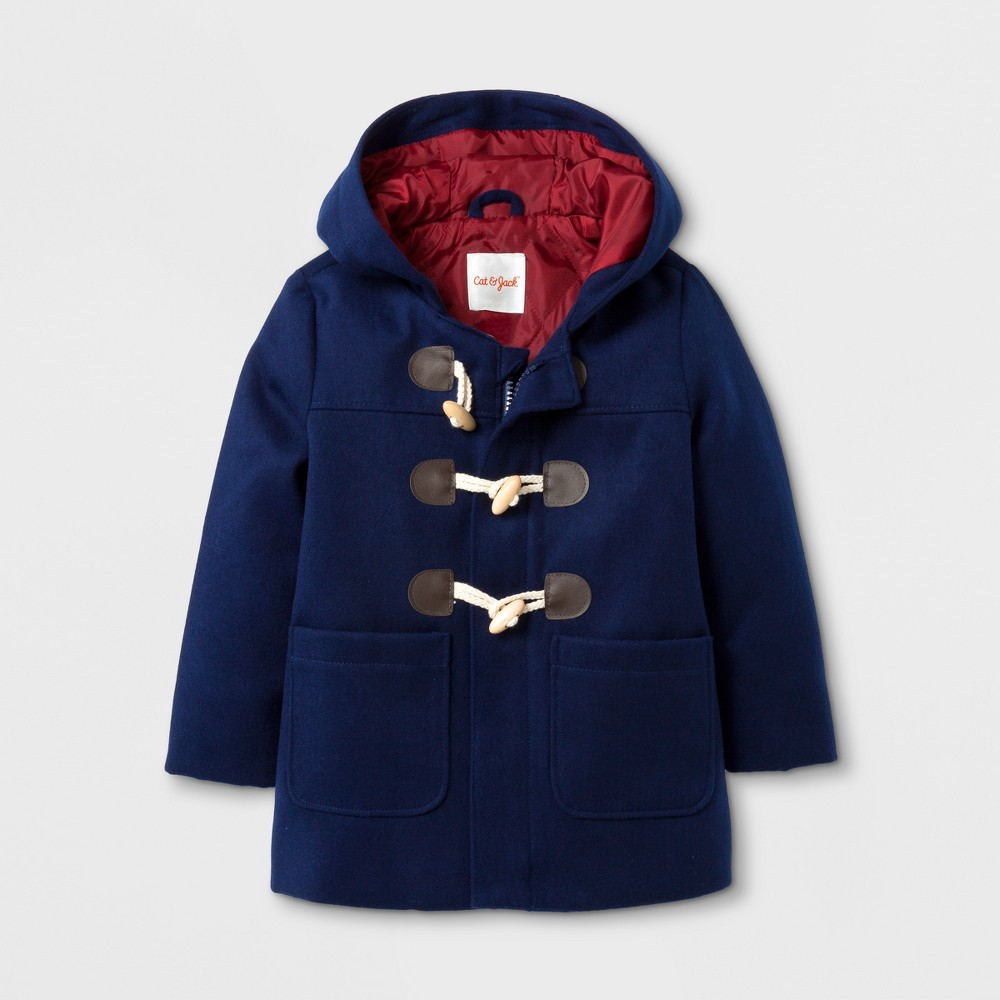 Toddler Boys Faux Wool Overcoat Jacket - Cat & Jack Navy 12M, Blue