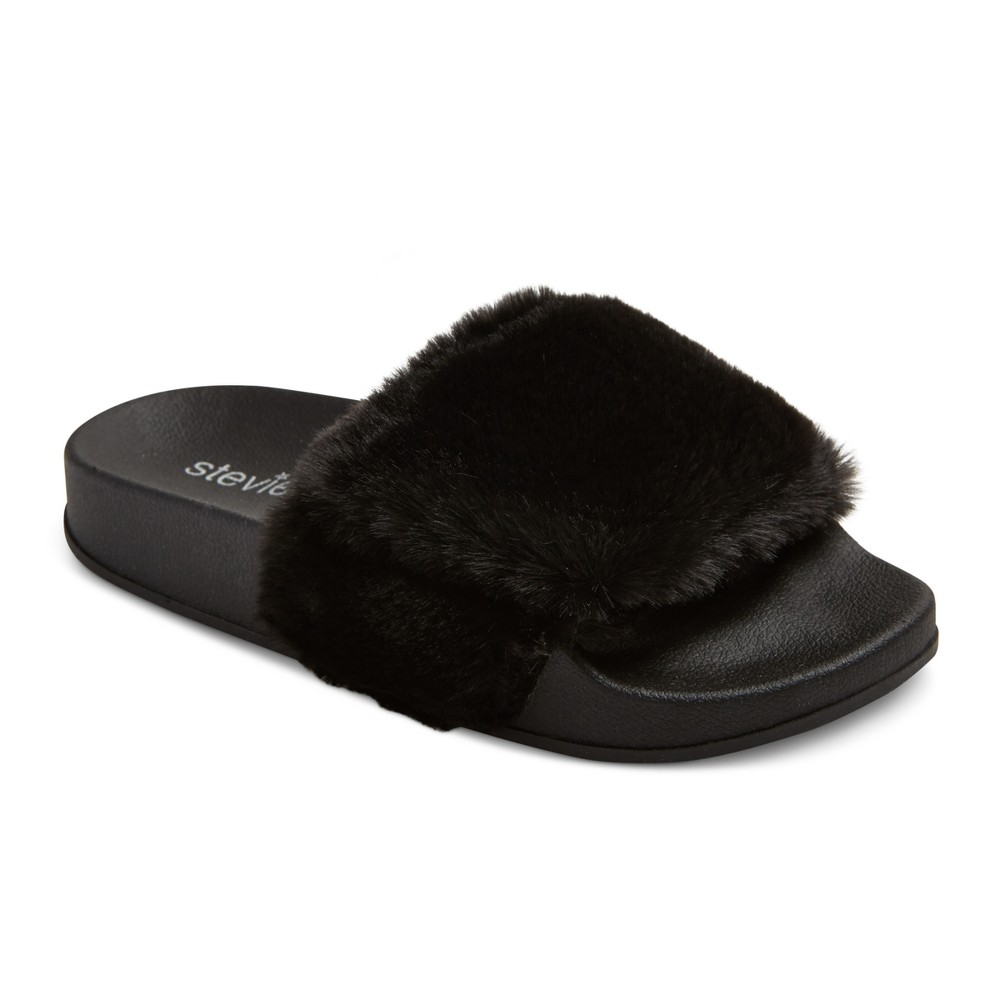 Girls Stevies #fauxreal Faux Fur Slide Sandals - Black 3