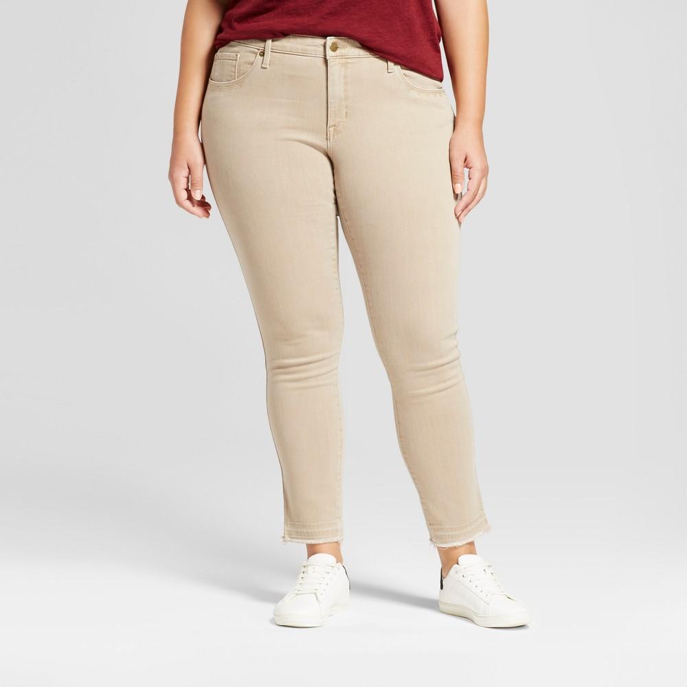 Womens Plus Size Skinny Jeans - Ava & Viv Khaki 26W, Brown