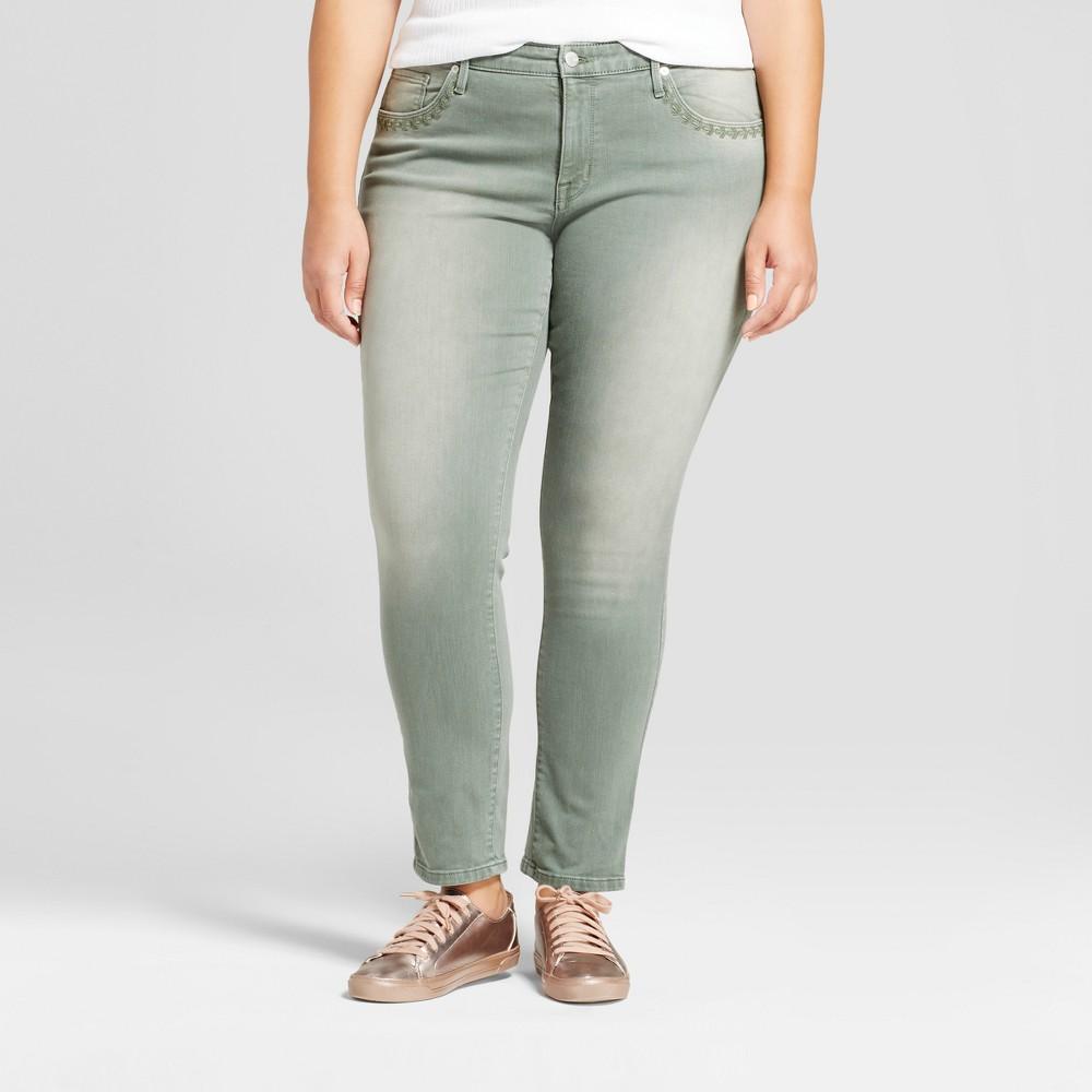Womens Plus Size Skinny Jeans - Ava & Viv Olive 22W, Green