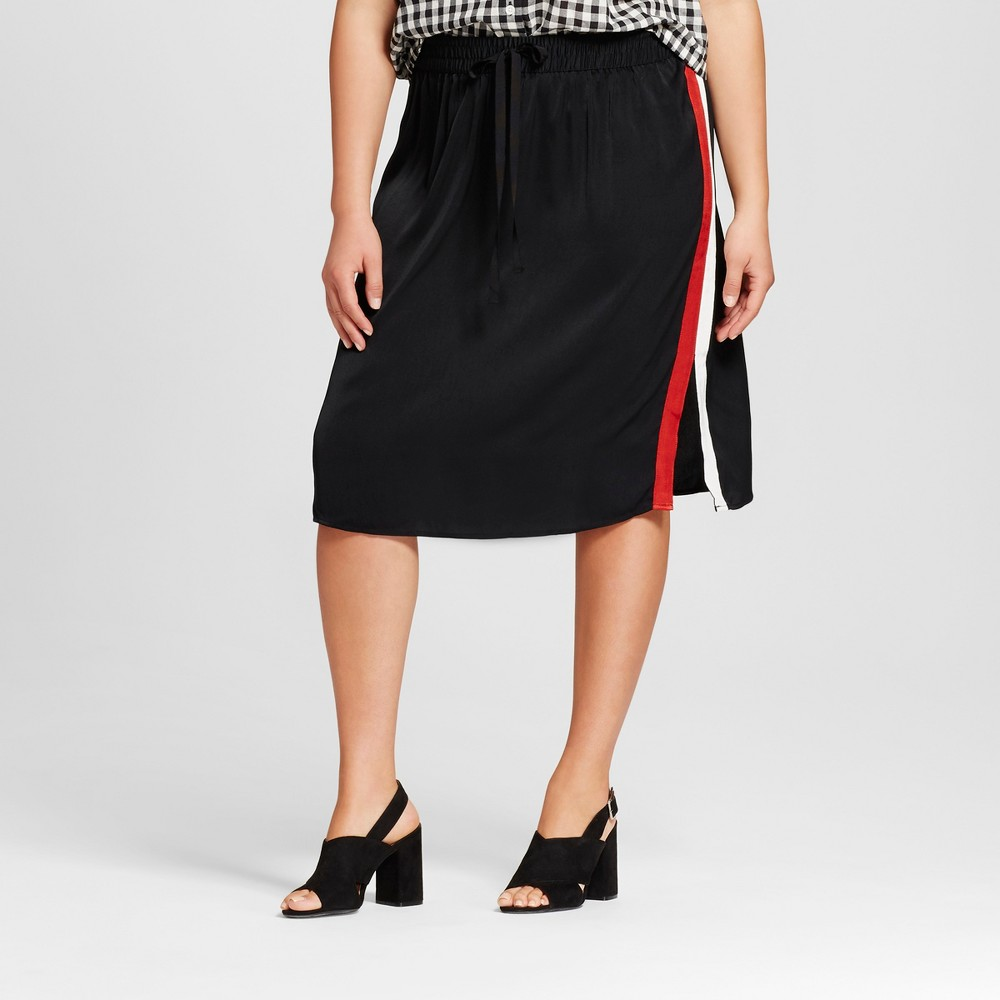 Womens Plus Size Silky Track Skirt - Who What Wear Black 1X