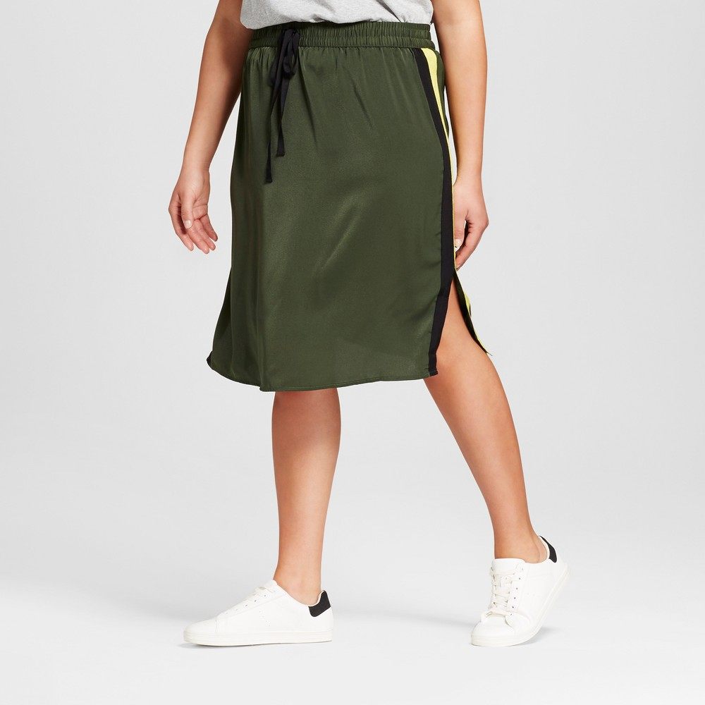 Womens Plus Size Silky Track Skirt - Who What Wear Olive (Green) 2X
