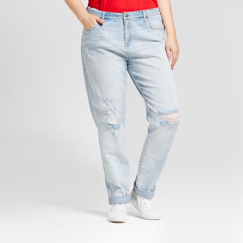 Womens Plus Size Boyfriend Jeans - Ava & Viv Light Wash 18W, Blue