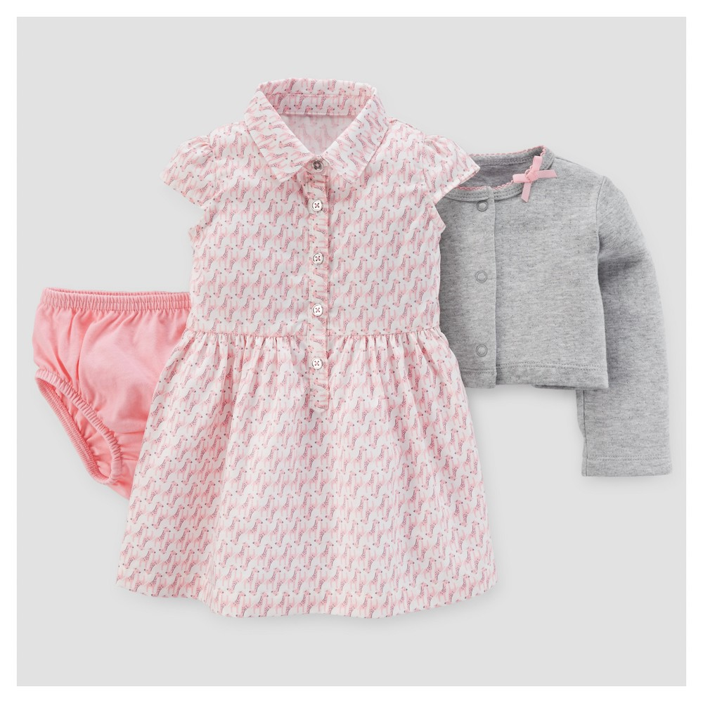 Baby Girls 2pc Giraffes Dress Set - Just One You Made by Carters Pink/Gray 3M, Size: 3 M