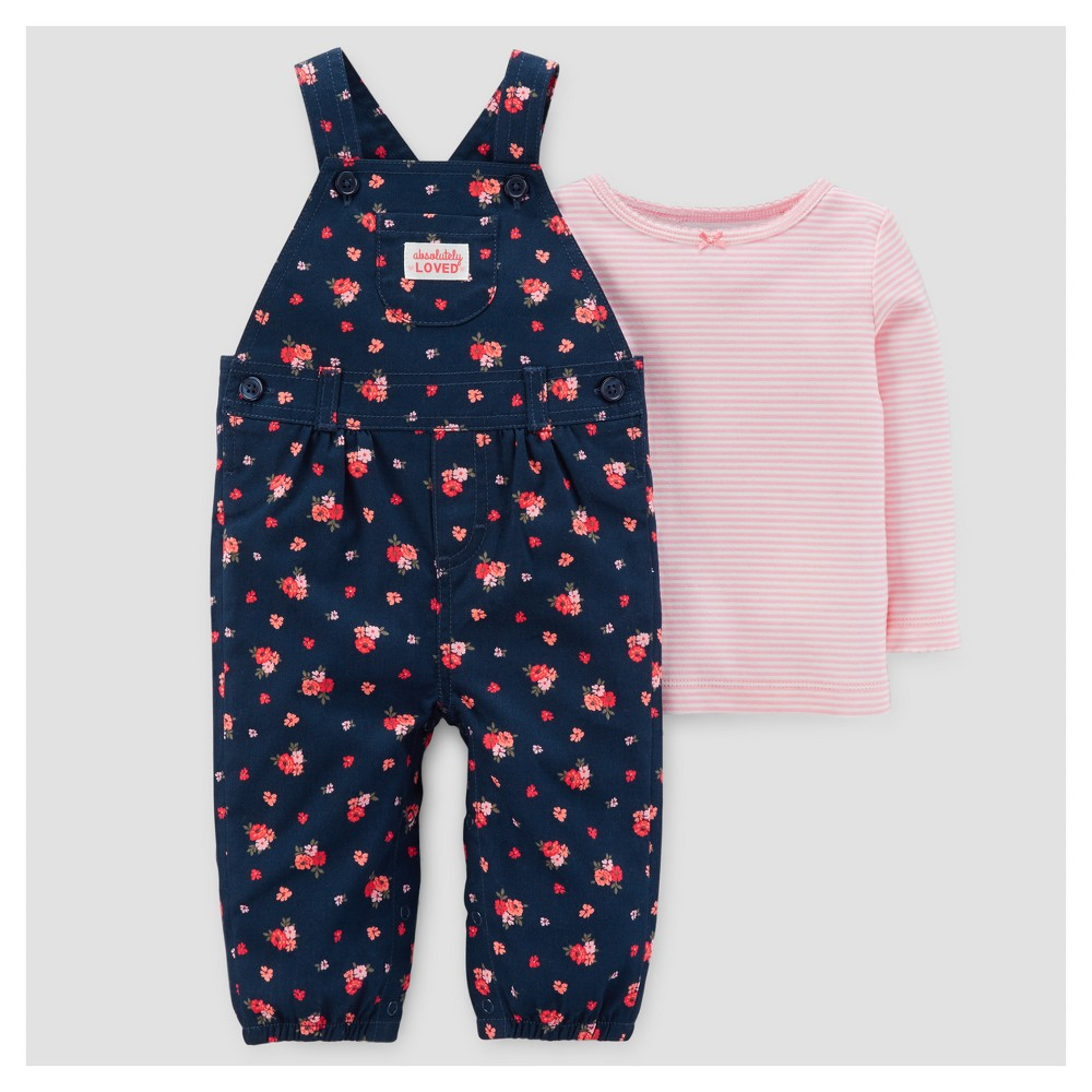 Baby Girls 2pc Cotton Overall Set - Just One You Made by Carters Navy/Pink Flowers 12M, Size: 12 M, Blue