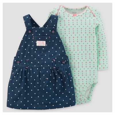 Baby Girls' 2pc Dot Skirtall and Floral Bodysuit Set - Just One You™ Made by Carter's® Chambray 6M