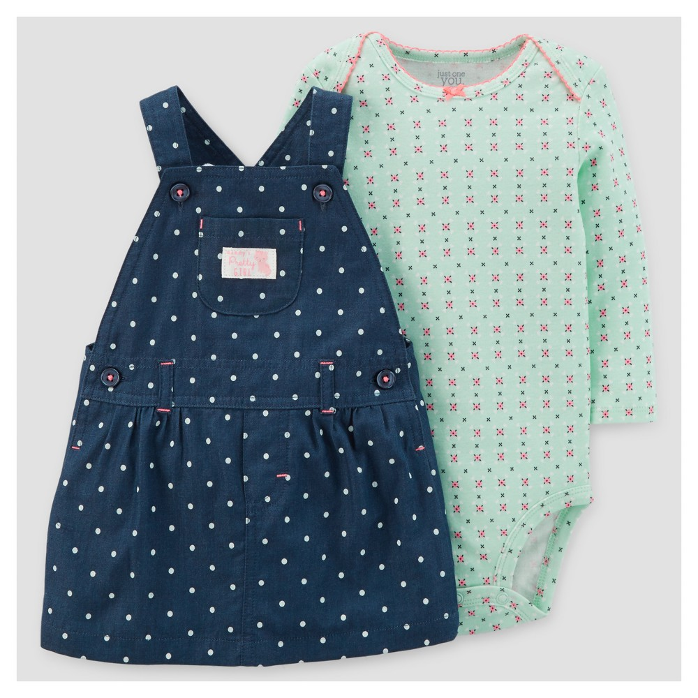 Baby Girls 2pc Dot Skirtall and Floral Bodysuit Set - Just One You Made by Carters Chambray 6M, Size: 6 M, Blue