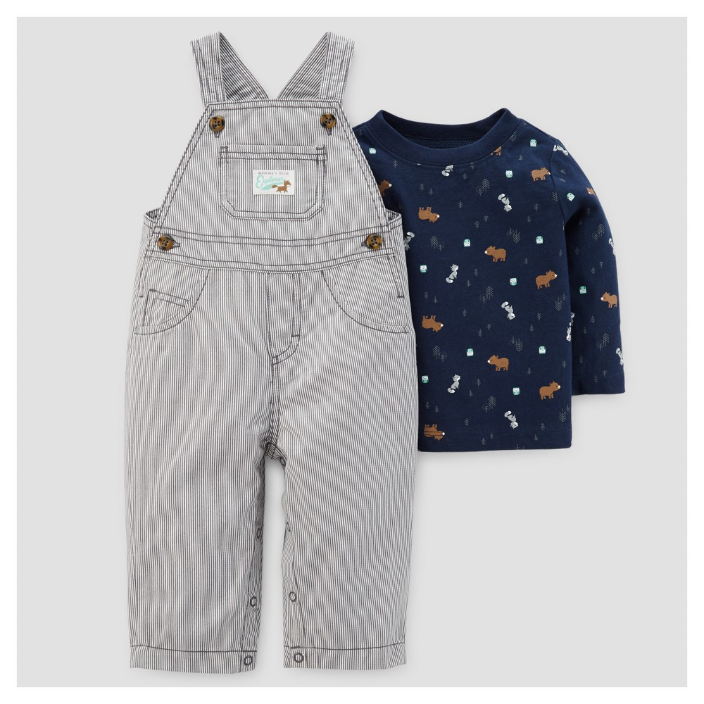 Baby Boys 2pc Cotton Twill Overall Set - Just One You Made by Carters Gray/Navy 18M, Size: 18 M