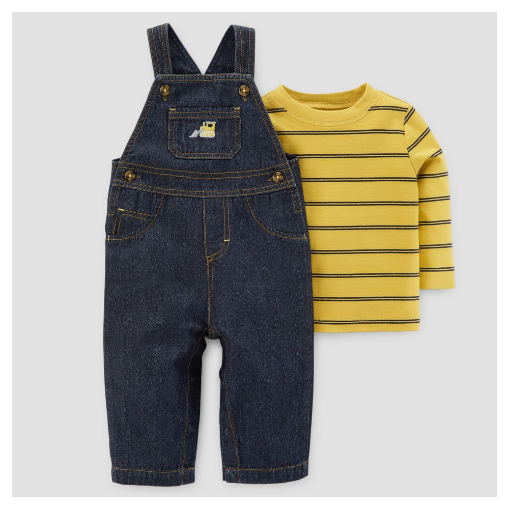 Baby Boys 2pc Denim Overall Set - Just One You Made by Carters Navy/Yellow Stripe 12M, Size: 12 M, Blue