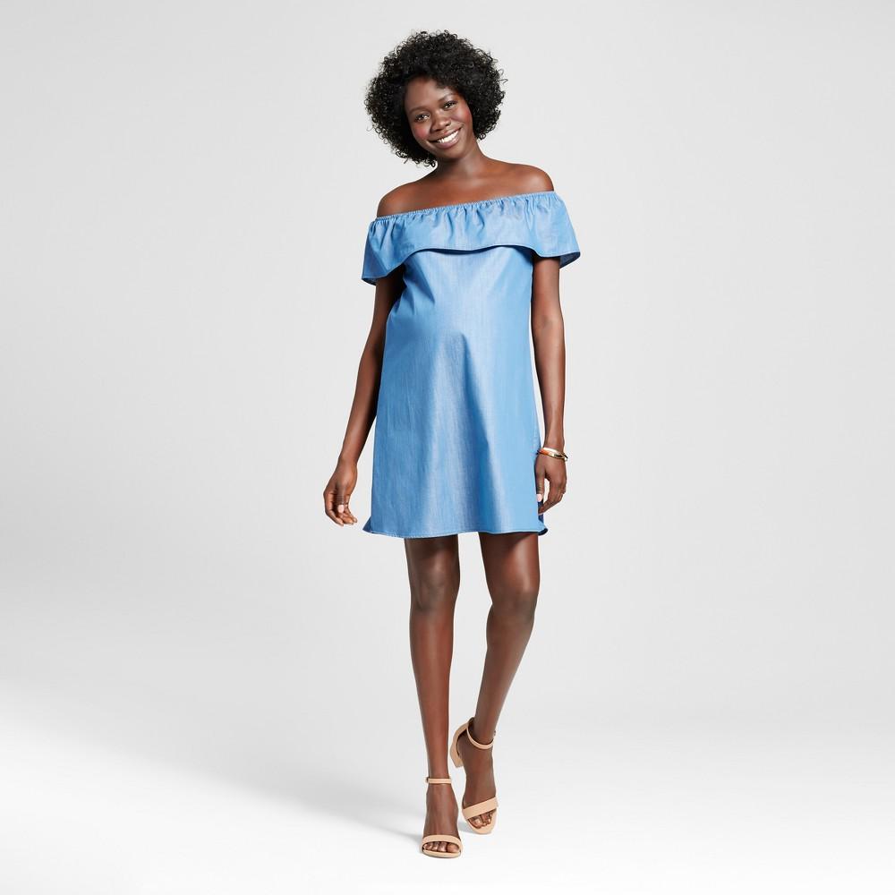 Maternity Off the Shoulder Chambray Dress Blue XL - Macherie, Womens