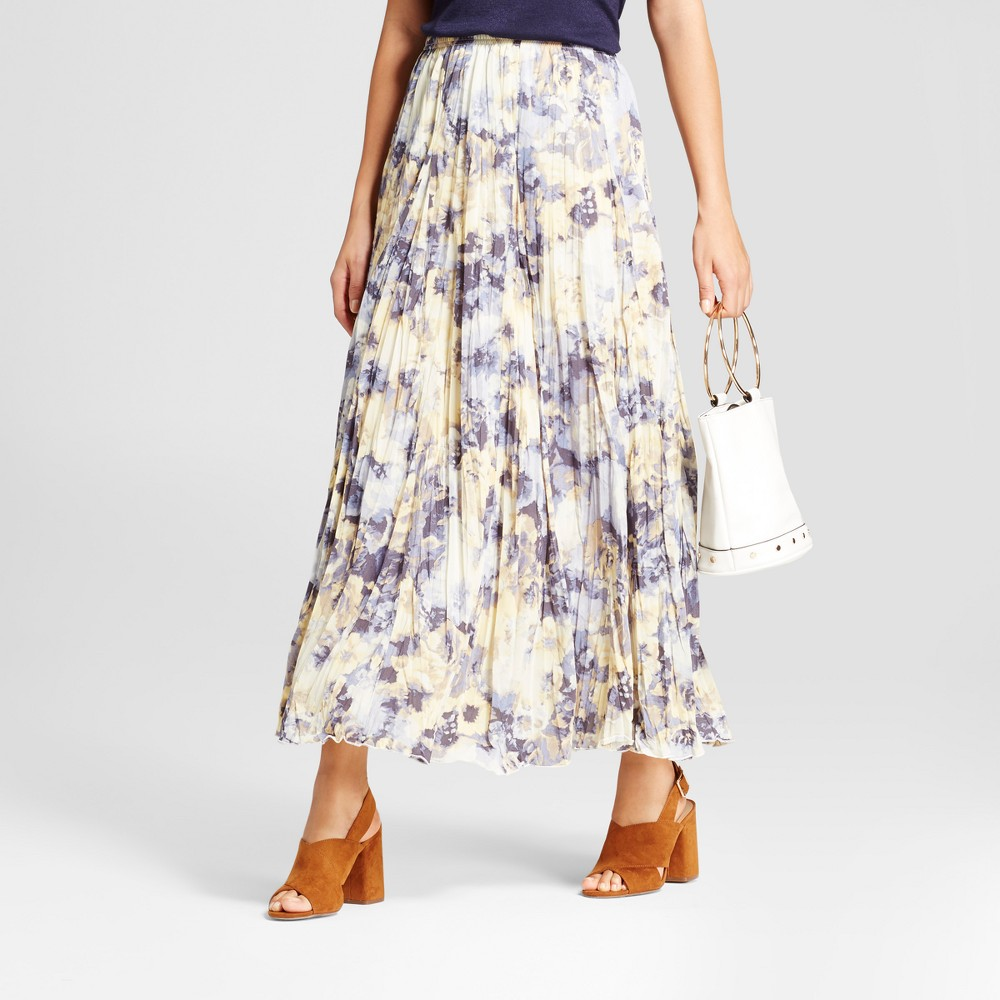 Womens Printed Crinkled Woven Maxi Skirt - Zac & Rachel - Blue/Yellow L