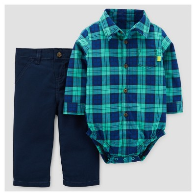 Baby Boys' 2pc Cotton Collared Bodysuit and Pants Set - Just One You™ Made by Carter's® Blue Plaid NB