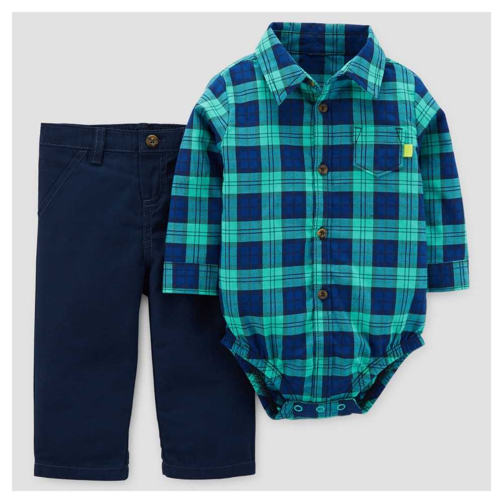 Baby Boys 2pc Cotton Collared Bodysuit and Pants Set - Just One You Made by Carters Blue Plaid 3M, Size: 3 M