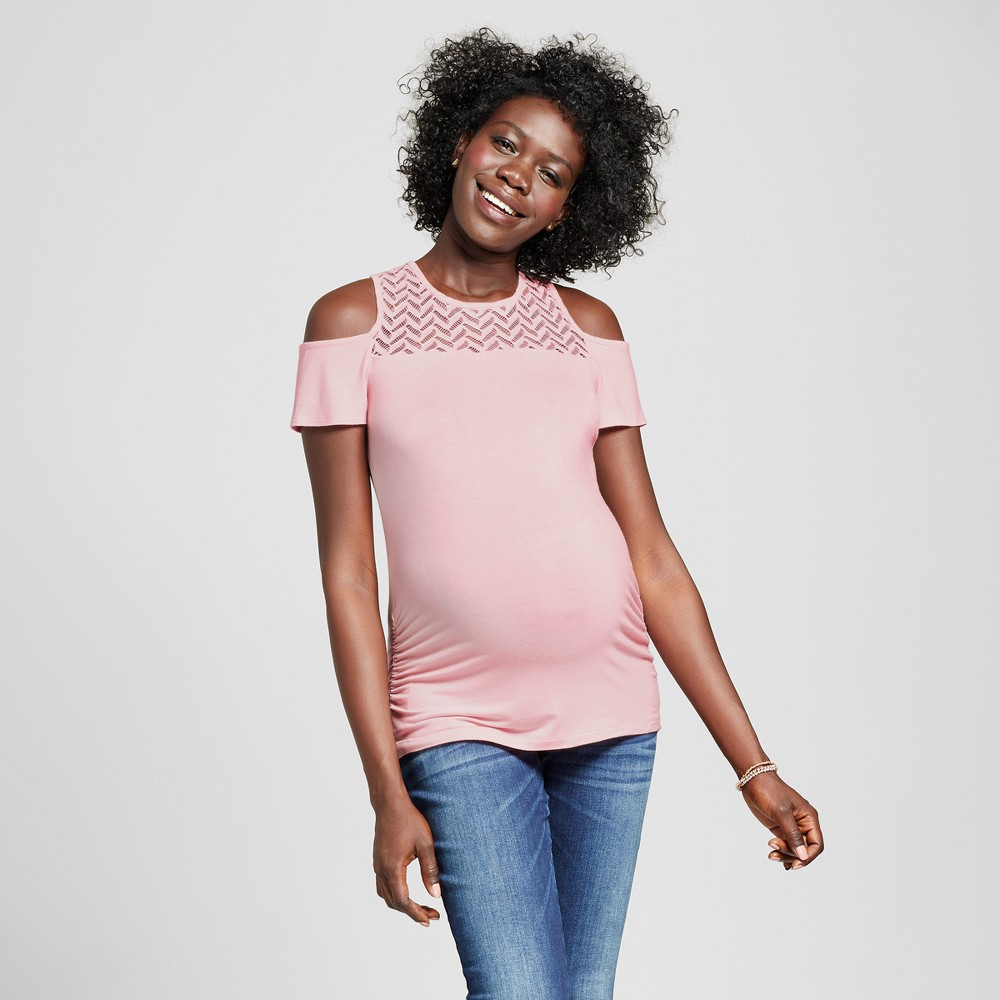 Maternity Lace Off the Shoulder Blouse Pale Blush L - Ma Cherie Maternity, Womens