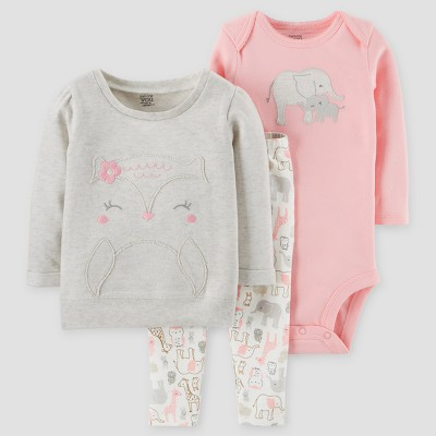 Baby Girls' 3pc Animals Cotton Pullover Set - Just One You™ Made by Carter's® Gray/Pink 3M