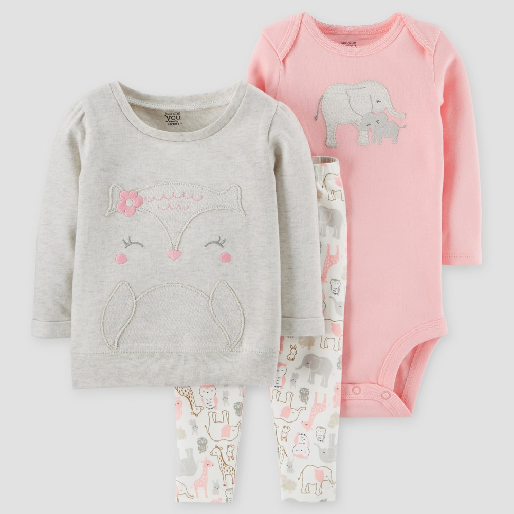 Baby Girls 3pc Animals Cotton Pullover Set - Just One You Made by Carters Gray/Pink 12M, Size: 12 M