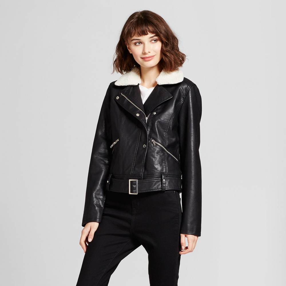Womens Faux-Leather Moto Jacket with Removable Sherpa Collar - Mossimo Black S