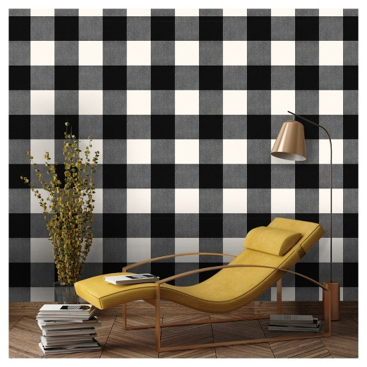 Devine Color Buffalo Plaid Peel Stick Wallpaper Black And Lightning