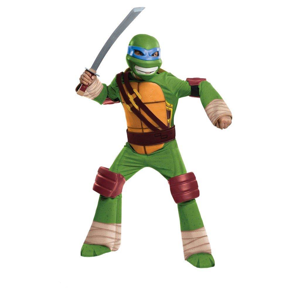 Boys Teenage Mutant Ninja Turtles Leonardo Deluxe Costume - L (10-12), Multicolored