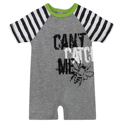 Burt's Bees Baby® Boys' Can't Catch Me Shortall - Heather Gray 0-3M