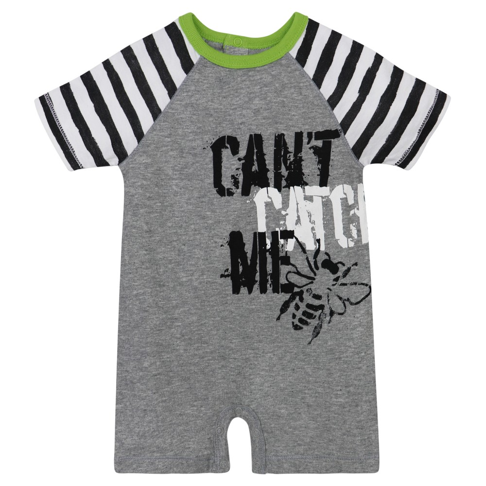 Burts Bees Baby Boys Cant Catch Me Shortall - Heather Gray 0-3M, Size: 0-3 M