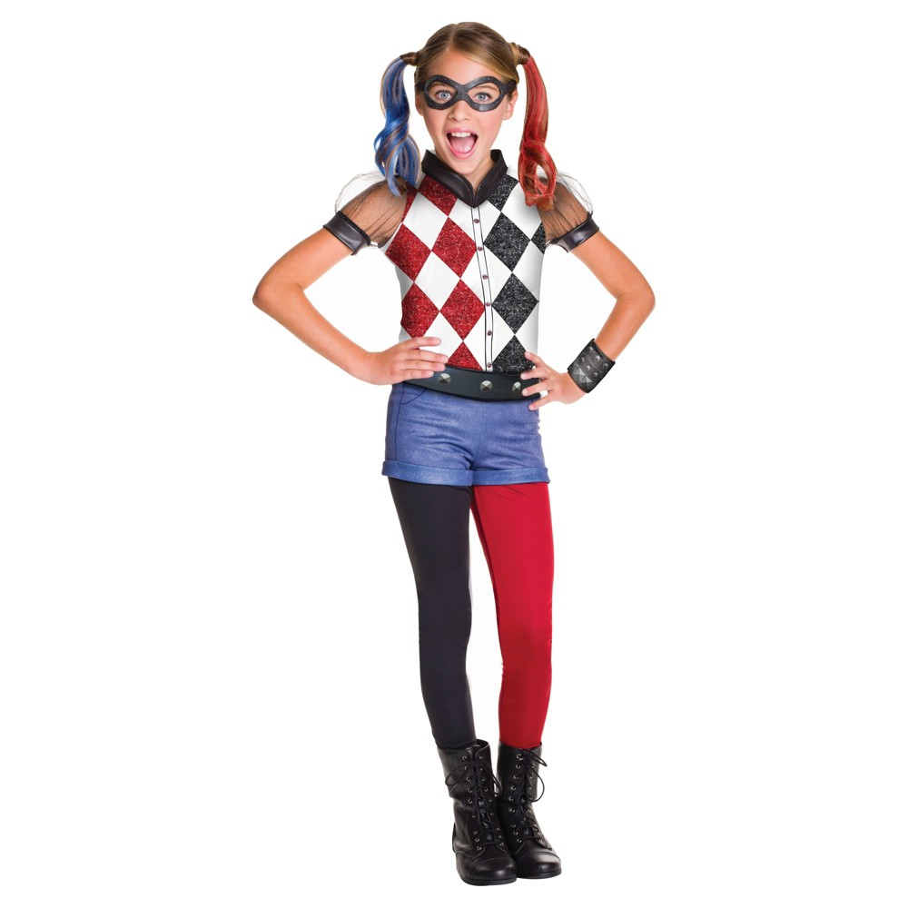 Girls' DC Superhero Harley Quinn Deluxe Costume - S (4-6), Multicolored